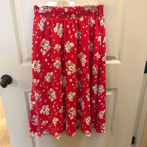 Red and floral flowy midi skirt